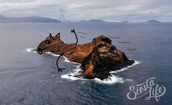 Остров Роке-дель-Эсте расположен в 12 км. от Лансароте