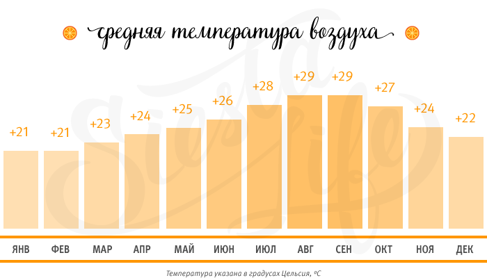 Средняя температура воздуха по месяцам на Тенерифе