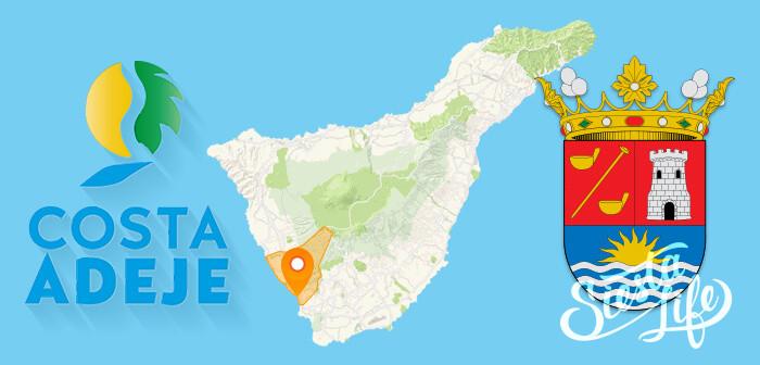 курорт Коста Адехе на карте, логотип и герб муниципалитета Адехе