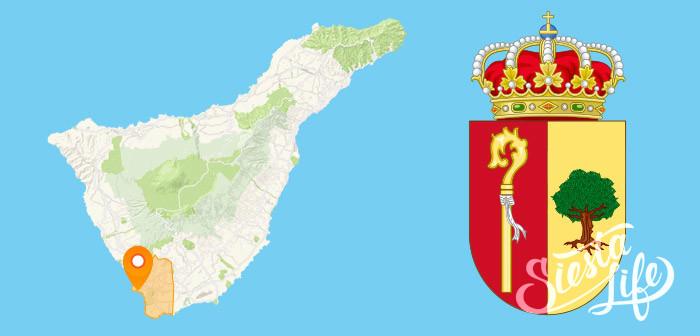 Лос Кристианос на карте и герб Ароны